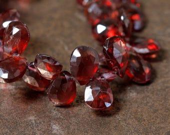 Mozambique Garnet Faceted Flat Teardrop Beads