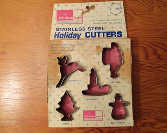 Vintage Chiltonware Stainless Steel Holiday Cutters In Original Box