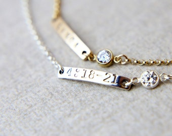 Personalized Bracelets // Mini skinny name bar bracelet - Gold filled or Sterling silver personalized name plate bracelet  EB011