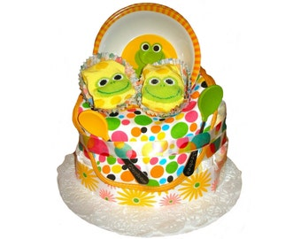 Froggie Twins Diaper Cake - Spring or Summer baby gift - 12 diapers