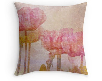 Pink Cushion, Pink Poppies, Poppy Throw Pillow, Poppy Cushion, Flower Decor, Pink Decor, Pink Throw Pillow, Pastel Cushion, Pastel Pillow