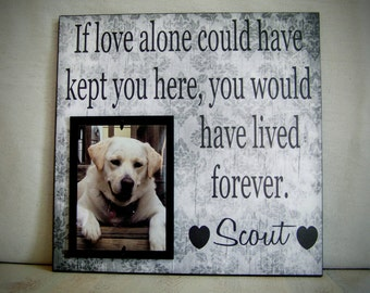 Pet Picture Frame Gift, Pet Memorial Gift, Dog Memorial Frame, Cat Memorial, If Love Alone Could Have Kept You Here