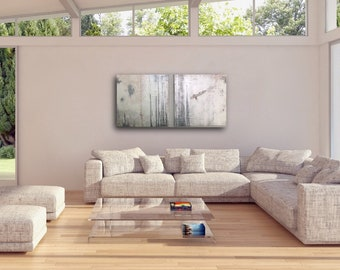Abstract Artwork 20x20 canvas Hand Painted Original Unique Wall Art Interior Decor elegant Art iridescent white pale pink and gray
