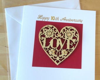 10th Anniversary card, wood anniversary card, Anniversary card handmade, Handmade anniversary card, anniversary card for husband, for  wife