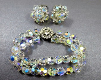Crystal Bracelet Earrings Set Aurora Borealis Beads Signed Bergere Vintage Cluster Earrings AB Double Strand Bracelet Rhinestone Clasp