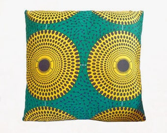Green & Yellow Circle Abstract African Print Cushion Throw Pillow Cover 16x16 inches