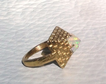 Gold Coated Silver Opal Pyramid Ring Ancient Pyramid Ring with Hypnotising Opal Capstone Sterling Silver Gold Plated Opal Jewelry