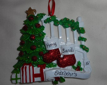 2 family mitten ornament// personalized christmas ornament// family of 2 mitten & treee// christmas ornament