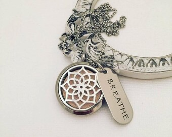 Breathe - Aromatherapy - Stainless Steel Essential Oil Diffuser Necklace - Aromatherapy Pendant - Essential Oil Necklace - Diffuser Locket