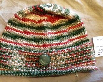 Children's knit hat, cute design and pretty striped yarn in peach and green, 100% acrylic