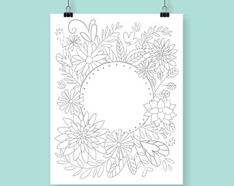 Coloring Print / Flower Coloring / Adult Coloring page / Printable / DIY / Art Print
