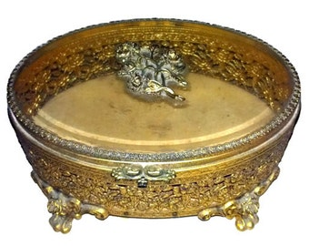 Large Ormolu Jewelry Casket Beveled Glass with Gold Velvet Lining