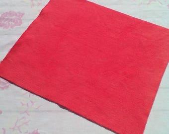 À la main laine teints tissu - laine vermillon clair - tapis accrocher couture - pastèque - 042 de l'artisanat - quilting - primitif - applique de laine-