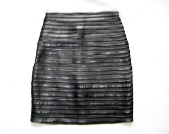 Vintage Sagaie Paris Faux Leather Mesh Stretchy Skirt