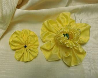 Bright Yellow Daffodil Pansy Ribbon Flower Set