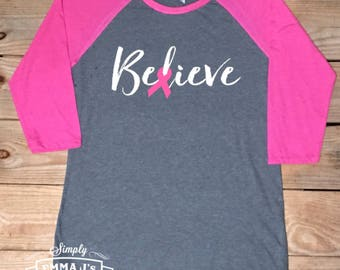 Believe,Survivor, Breast cancer awareness, breast cancer shirt, women's shirt, gift idea, breast cancer survivor