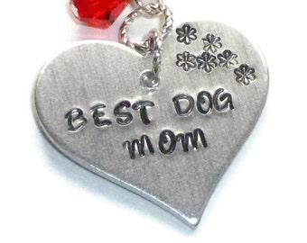 Best Dog Mom Heart Necklace, Flower Necklace