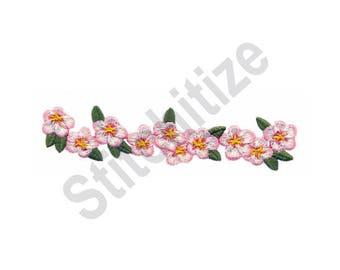 Floral Border - Machine Embroidery Design, Cherry Blossom Flowers