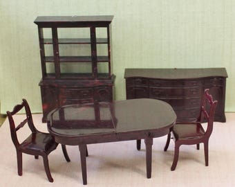 Marx Dollhouse hard plastic Dining Room furniture  3/4 or 1:16 inch scale for Marxie Mansion tin litho dollhouses