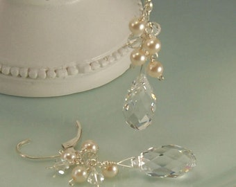Crystal Bridal Earring, Clear Crystal Dangle with Ivory Pearls, Bride Wedding Earring, Sterling Silver, Swarovski, Ivory Creme Earrings