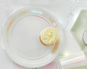 Party Tableware Set 12 Place Settings Iridescent Plates And Cups Pink Napkins Paper Plates Shimmering Birthday Decorations Party Baby Shower