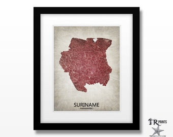 Suriname Map Art Print - Home Is Where The Heart Is Love Map - Original Custom Map Art Print Available in Multiple Sizes