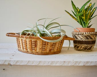 Vintage Wicker Basket with Handles || Oblong Woven Tray