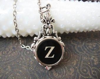 Typewriter Key Jewelry - Typewriter Necklace Letter Z