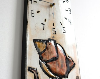 Orange Bird Clock_Horloge Oiseau