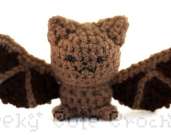 Little Brown Bat Amigurumi Crocheted Plush Toy Stuffed Animal
