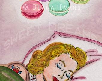 Original Aquarell Malerei Grafik - Laduree Macarons süße Träume
