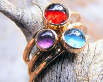 14k Solid Gold Stacking Rings Set Rhodolite Garnet, Purple Amethyst, London Blue Topaz Gemstone Mothers Day Rings, Birthstone ring