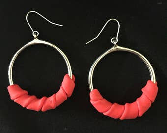 Mothers day gift. Hoop earrings. Red statement earrings. Boutique jewellery. Red hoop earrings. Gift for her. Unique unusual jewellery.