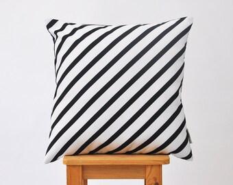 "Decorative Pillows, Throw Pillow, Cushion Cover, Modern Kids Pillow Cover, Nursery Decor, Monochrome, Black Striped 16""x16"""