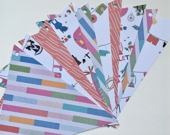 paper Garland pink red camping Clothesline