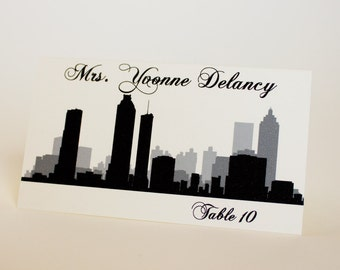 Atlanta Place Card Skyline Handmade Custom Personalize Wedding Bridal Sign Table Setting Escort Georgia