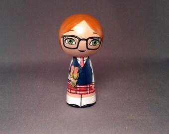 Cute Schoolgirl with love birds Kokeshi Peg Wooden Doll