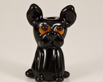 SALE - Black Frenchie Lampwork Dog Bead