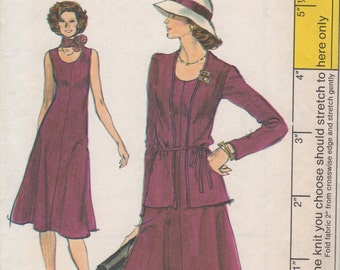 Bust 36-FACTORY FOLDED 1970's-80's Misses' Dress and Jacket Vogue 9373 Size 14