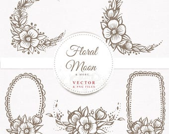 Floral Moon, hand drawn cliparts, hand drawn wreaths, vector Pdf files and png files without background, 300 dpi