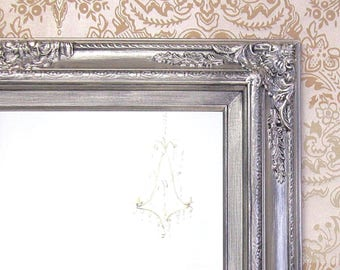 "BRUSHED NICKEL ACCENTS Bathroom Mirror Framed Baroque Vanity Mirror Wall Mirror 31""x27"" Decorative Ornate Unique Mirror Rectangle"
