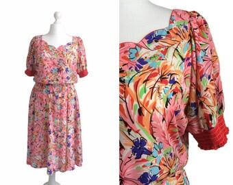 Vintage Floral Dress   80's Vintage Dress   Virginie Paris   Size Large