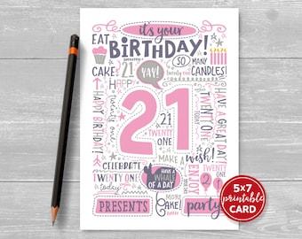 "Printable 21st Birthday Card - Doodled Twenty One Birthday Card in Pink - 5""x7"" plus printable envelope template. Instant Download."