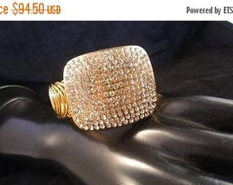 ON SALE Vintage Rhinestone Bracelet, Chunky Wide High End Hard To Find Rare Jewelry, Old Hollywood Glamour, 1980's Retro Black Tie Formal