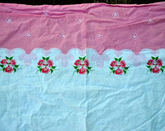 Vintage Lot/Set of 2 Pink Border with Pink Morning Glory Flowers with Green Leaves Feed Sacks - Pillowcase Pillow case - feedsack