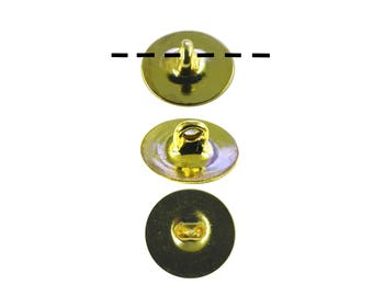 12 - 1 Dozen Gold Plated 10mm Glueable Button Backs Shanks.  DIY Make a button out of almost anything