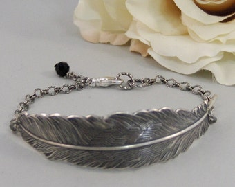 Silver Feather,Bracelet,Silver Bracelet, Antique Bracelet, Feather Bracelet,Black,Silver. Handmade Jewelry by Valleygirldesigns.
