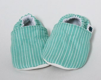 Children slippers, Stripes, Turquoise, White, Teal, Crib shoes, Flannel, Cotton, Soft soles moccasins, Toddler, Baby shower, Gender neutral