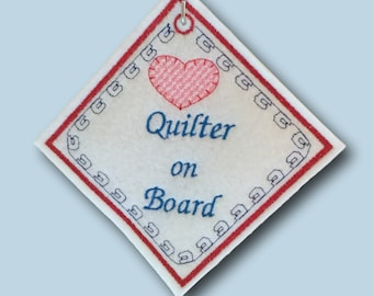 Quilter on Board diamond hanging sign
