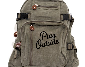 Backpack | Play Outside | Men Canvas Backpack | Camera Bag | Laptop Bag | Outdoorsman Gift | Rucksack | Diaper Bag Backpack | Kids Backpack